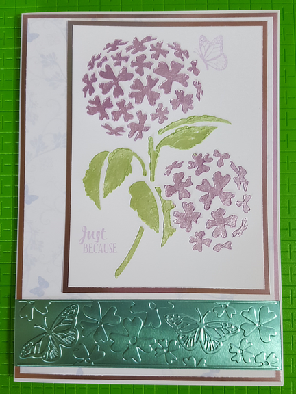 A Stencil, an Embossing Folder, Stamps and Papers and you have a Hydrangea card!