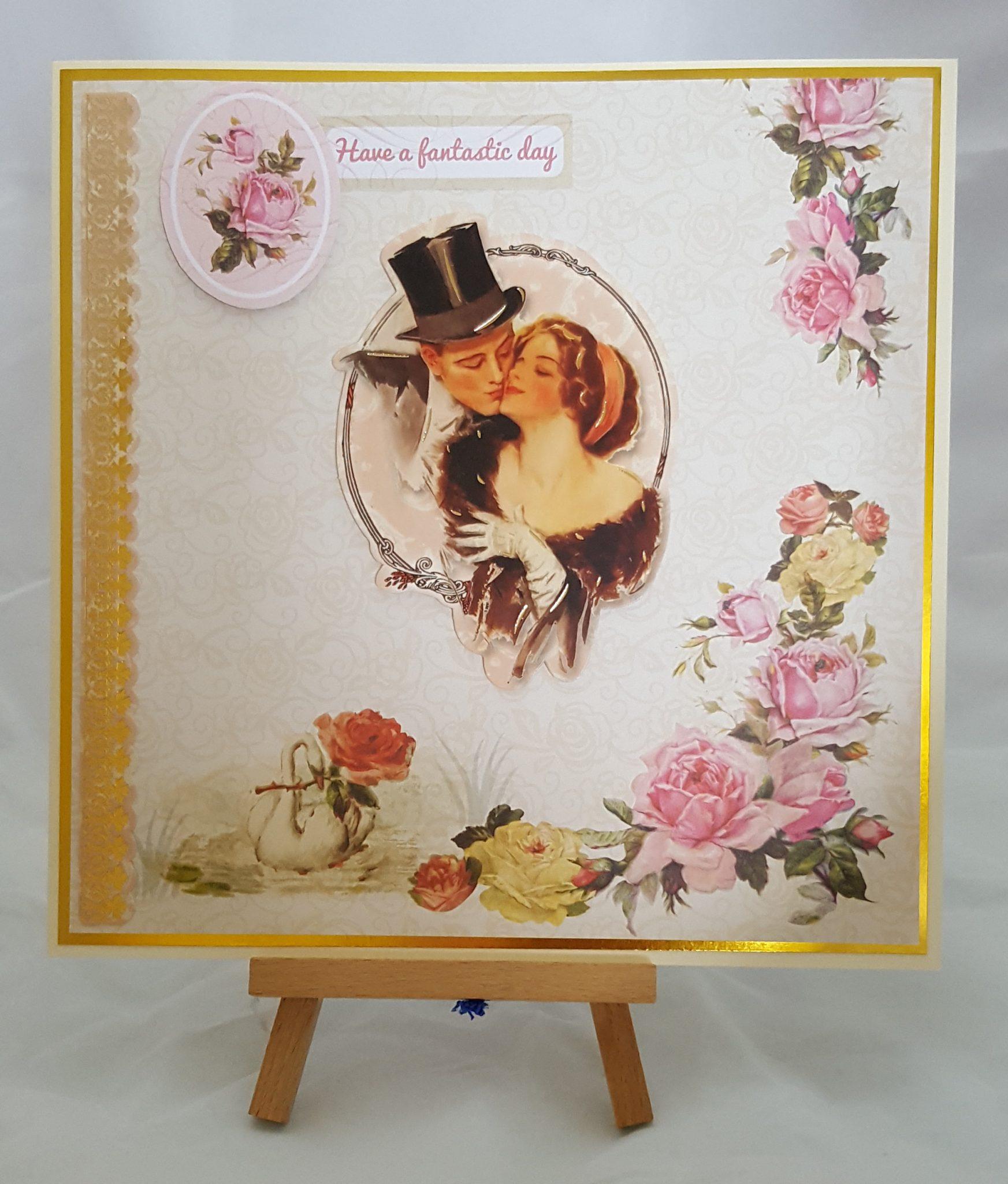 Vintage Swan Rose Card