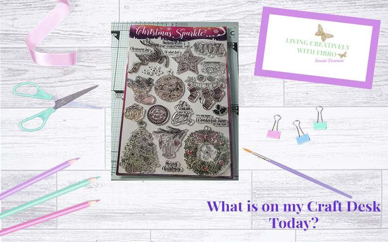 Living Creatively with Fibro | Christmas Sparkle on my Craft Desk