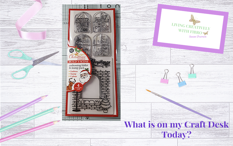 Living Creatively with Fibro | Christmas Window on my craft desk