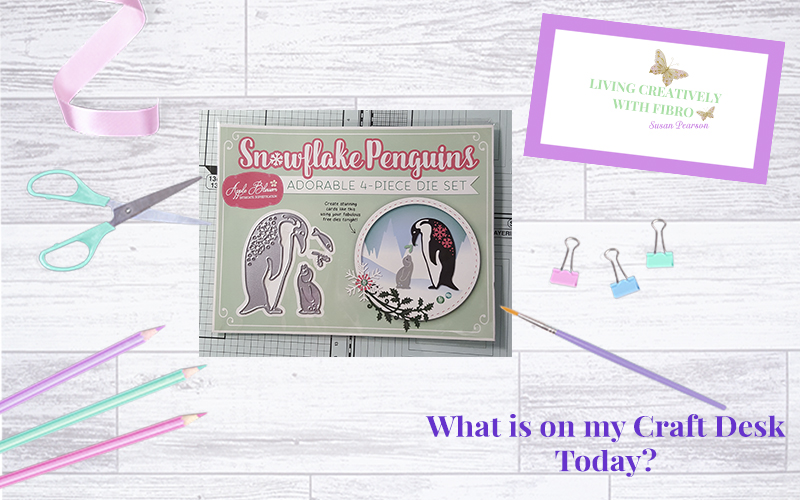 Living Creatively with Fibro | Snowflake Penguins on my Craft Desk