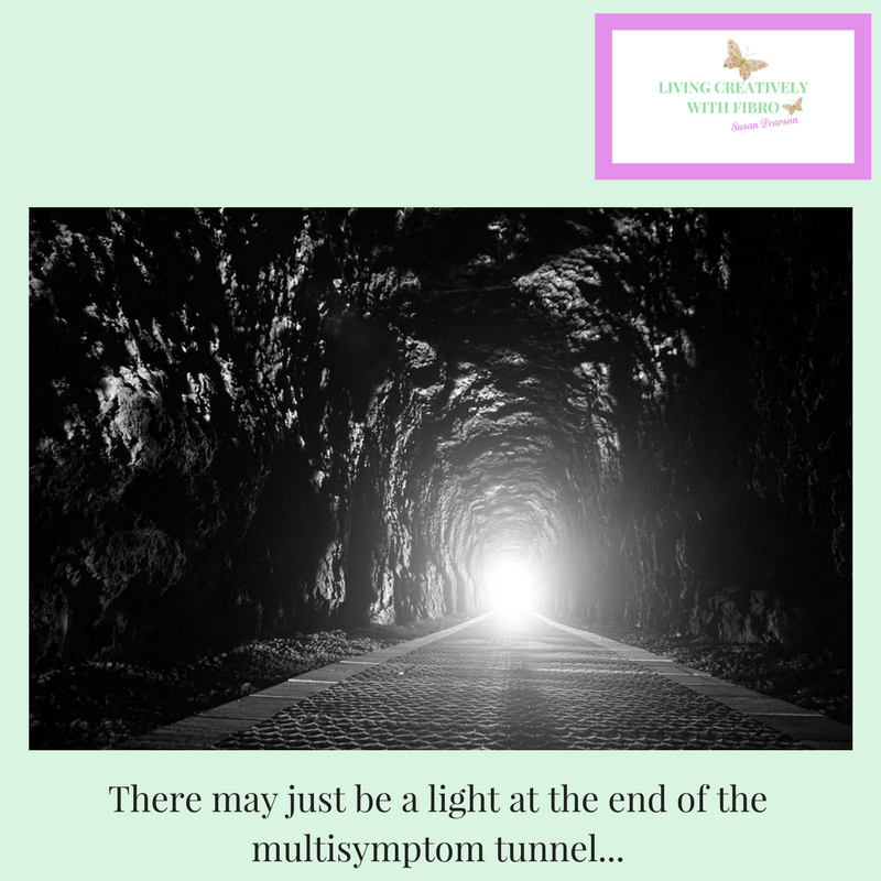 Living Creatively with Fibro | A light shining from the end of a railway tunnel stating there may be light at the end of the multisymptom tunnel