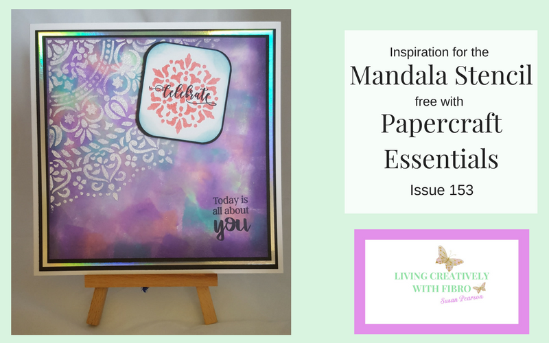 Living Creatively with Fibro | Blog Header for Mandala Stencil Post including an image of the completed card