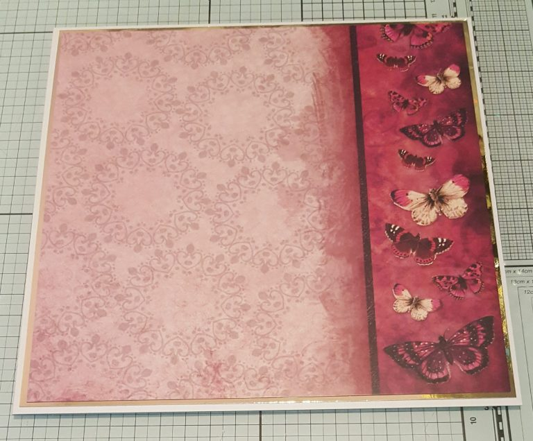 Living Creatively with Fibro | Flight of the Butterflies Jewel Edition Pink Sapphire Delight Cardstock with gold mat layer