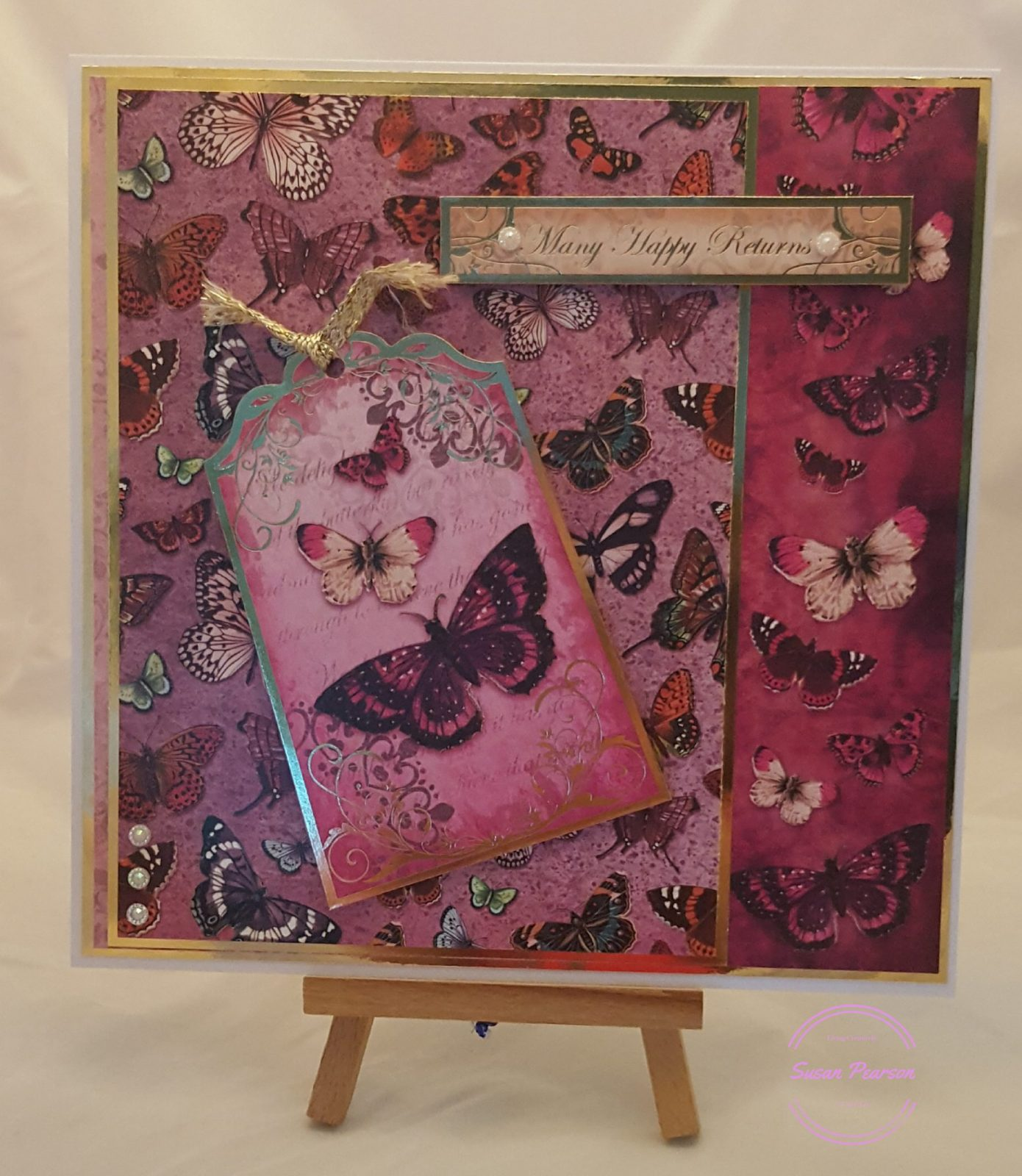 Living Creatively with Fibro | Hunkydory Flight of the Butterflies Pink Sapphire Delight Completed Card