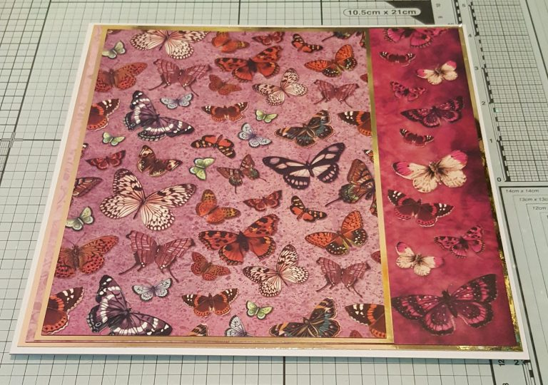 Living Creatively with Fibro | Hunkydory Flight of the Butterfly Pink Sapphire Delight cardstock back layer and second mat layer both with gold mirror mats