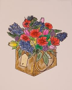 Living Creatively with Fibro   The Floral Stamp coloured in with real color brush markers
