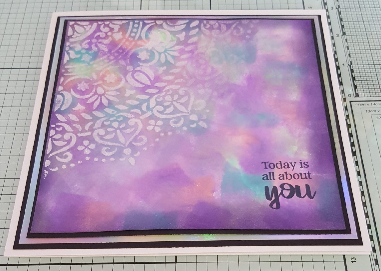 Living Creatively with Fibro | Mandala Stencil design with matting layers