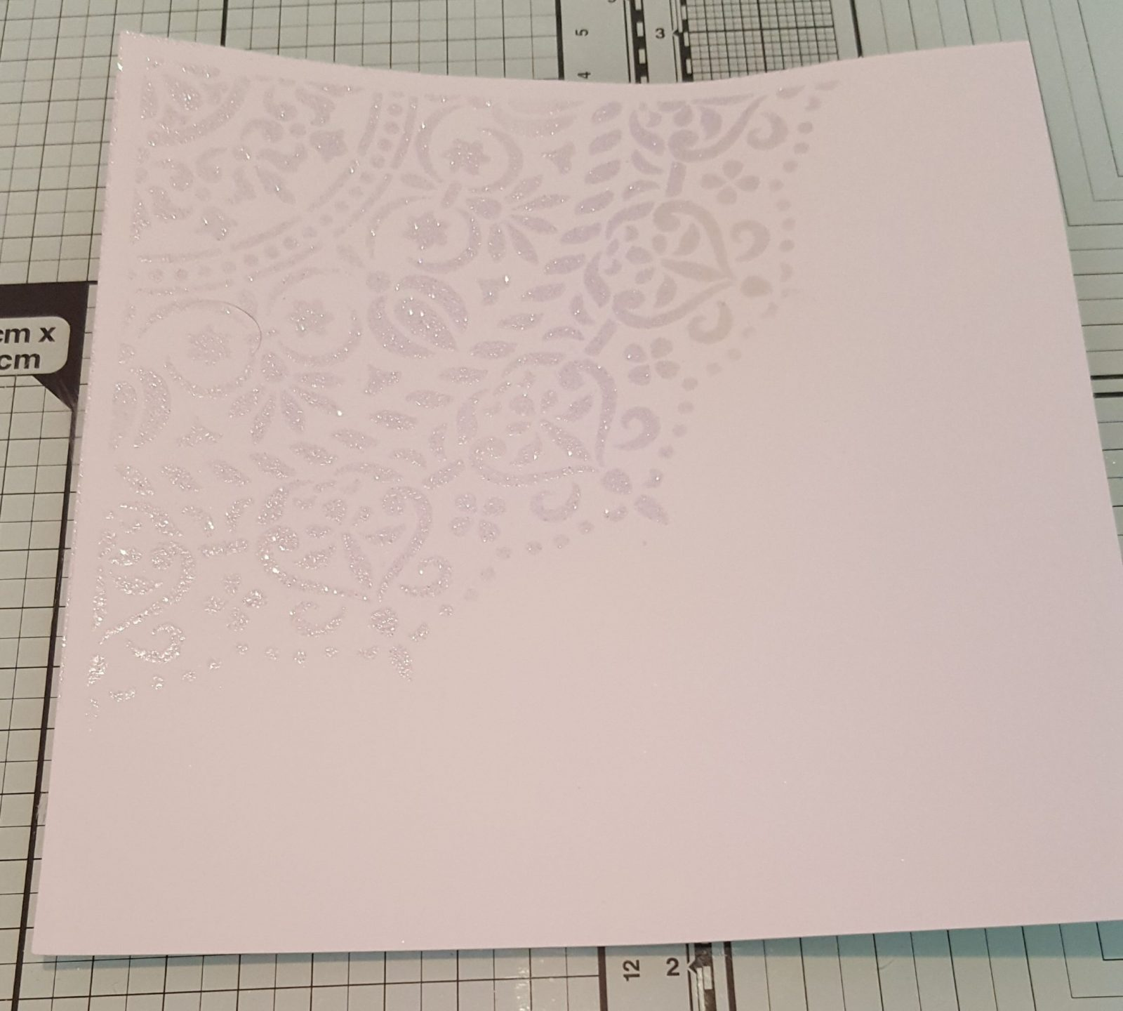 Living Creatively with Fibro | The Mandala Stencil design Inked and Embossed