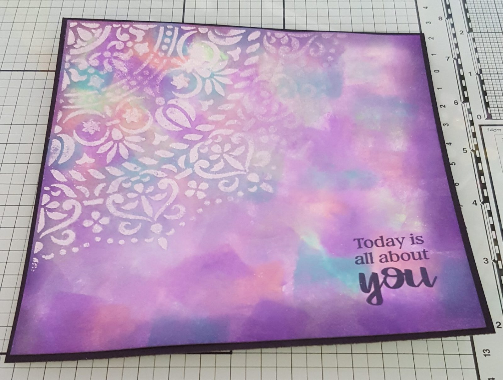 Living Creatively with Fibro | Mandala Stencil Design with the Stamped Sentiment 'Today is all about you'