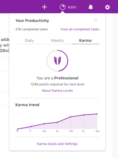 Living Creatively with Fibro | Todoist Karma showing my Karma level improving the more tasks I do