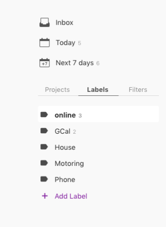 Living Creatively with Fibro | Todoist in the labels view showing online, gcal, House, Motoring, phone