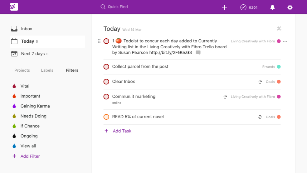 Living Creatively with Fibro | Todoist Today View showing the tasks assigned for today