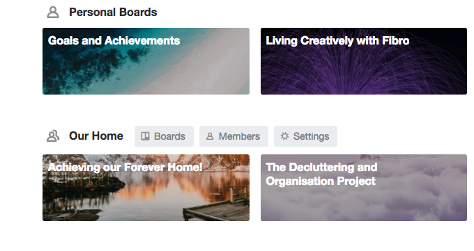 Living Creatively with Fibro | My Trello Boards currently showing two personal boards and two joint projects