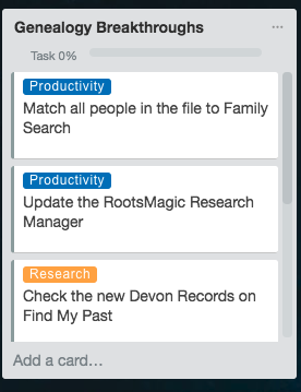 Living Creatively with Fibro | My Genealogy List from one of my Trello boards