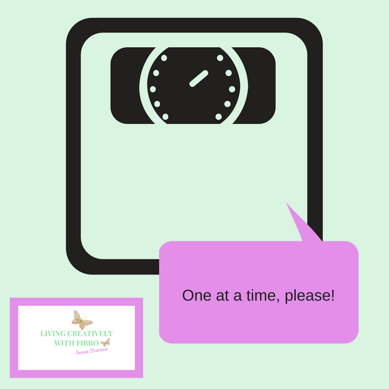 Living Creatively with Fibro | An image of the scales with a speech bubble saying one at a time please