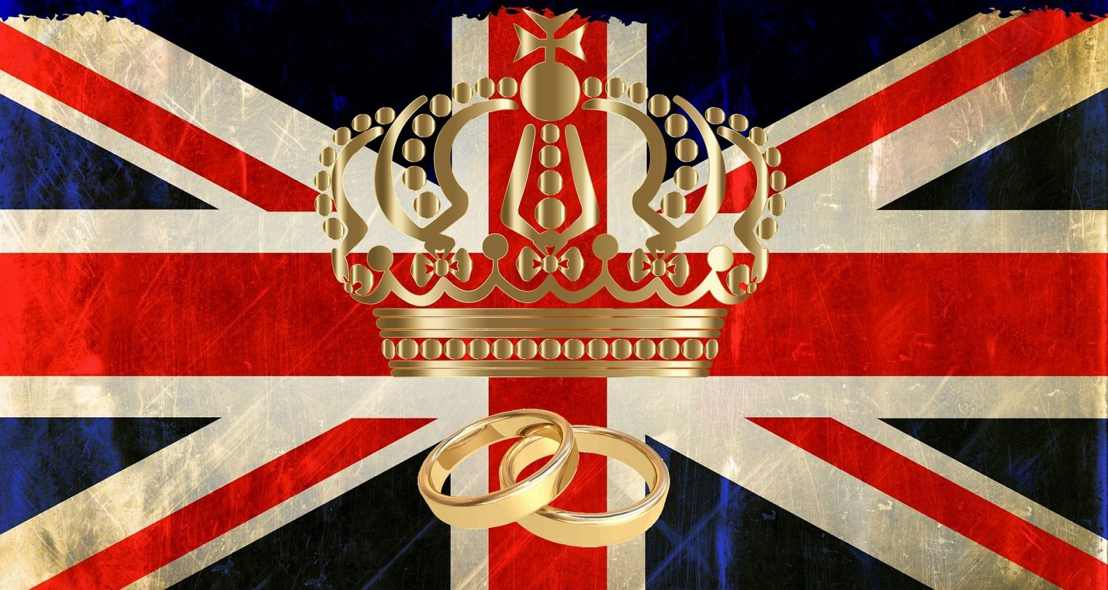 Living Creatively with Fibro | A Union Jack with a gold crown and two wedding rings in front in terms of emotions a Royal Wedding provides all the feels!