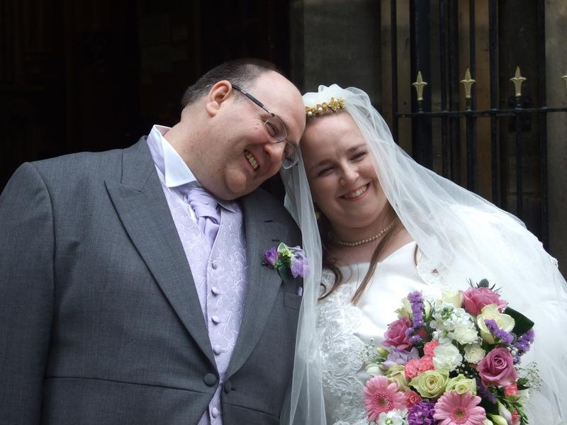 Living Creatively with Fibro |weddings wouldn't exist without the happy couple. A casual photo of The Bridge and Groom leaning into each other after the service
