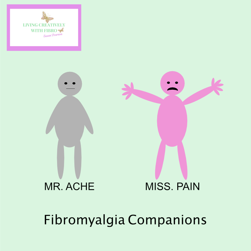 Living Creatively with Fibro   Ache and Pain my Fibro Companions illustrated people ache is grey with his arms by his sides and a flat mouth, pain is bright pink with he hands spread out wide and a big upside down mouth
