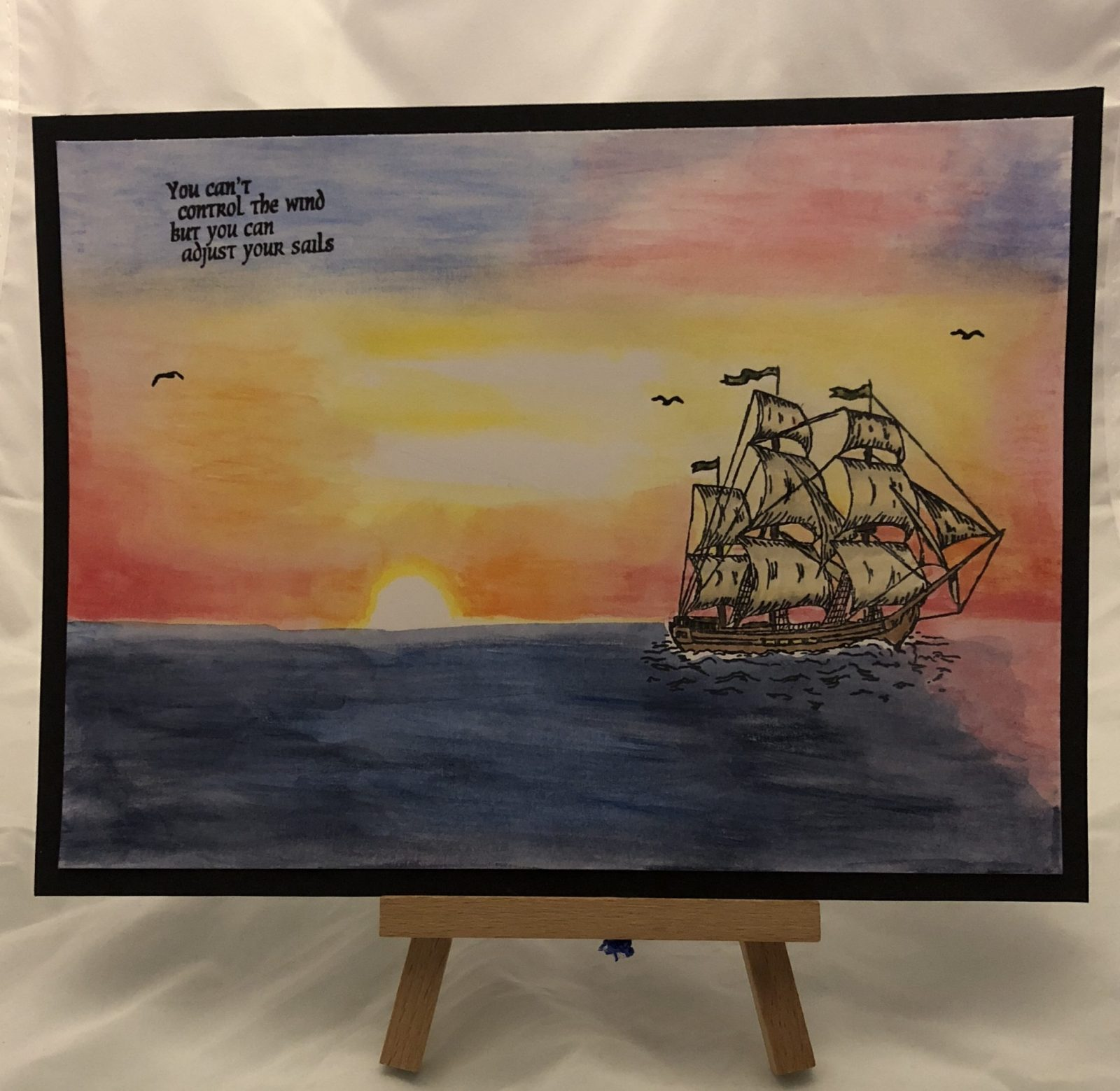 Living Creatively with Fibro | The completed watercolour picture with the birds and the sentiment You can't control the wind but you can adjust your sails