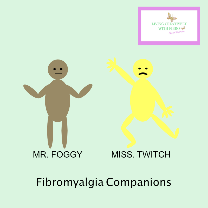 Living Creatively with Fibro   Foggy and Twitch my Fibro Companions Foggy is a khaki colour with his arms shrugging Twitch is bright yellow wish limbs sticking out in all sorts of directions