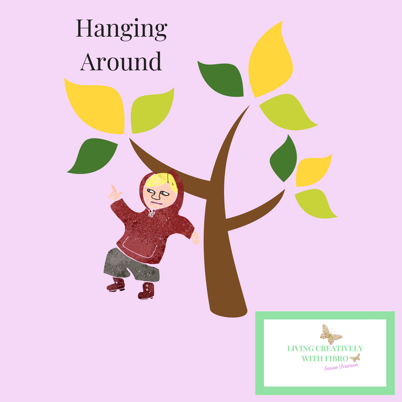 Living Creatively with Fibro | Accidents an illustration of a tree with an illustration of a child on a branch and the words hanging around