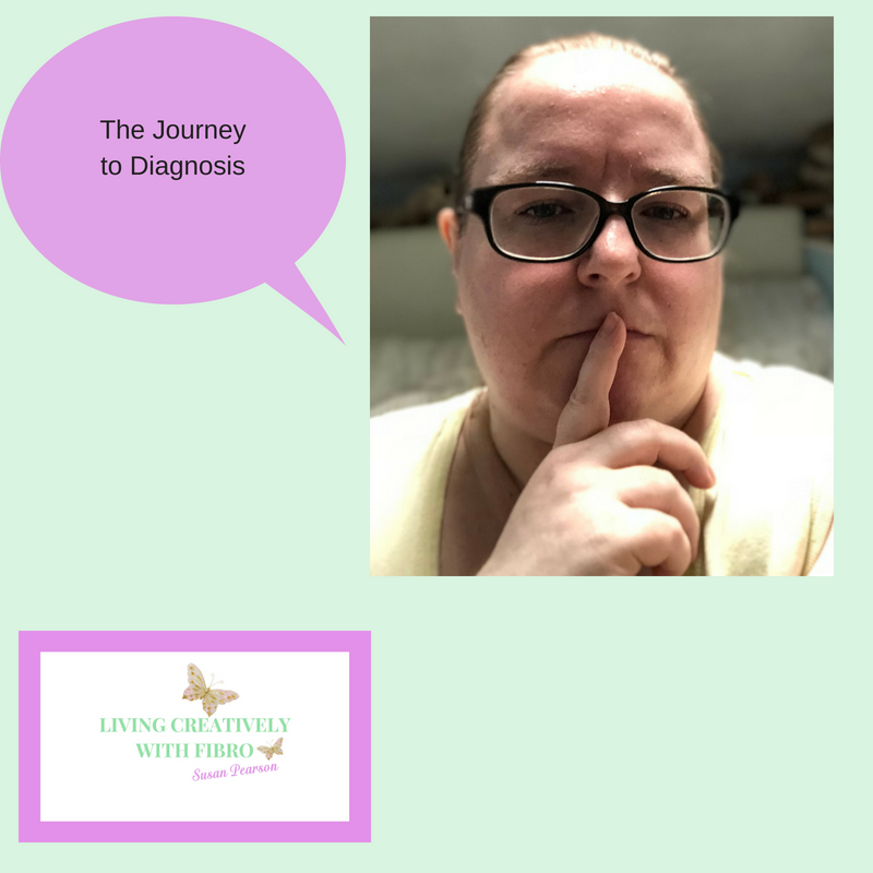 Living Creatively with Fibro | An image of me looking forward and a speech bubble with the words the journey to diagnosis