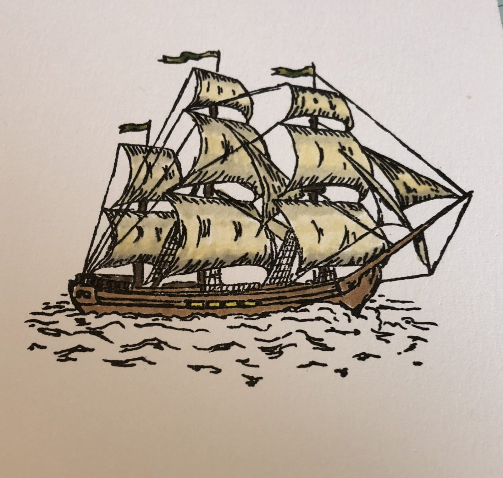 Living Creatively with Fibro | The ship has been coloured with alcohol markers the sails are ivory and egg shell blended and the wood in a medium brown the top flags are a muted green colour