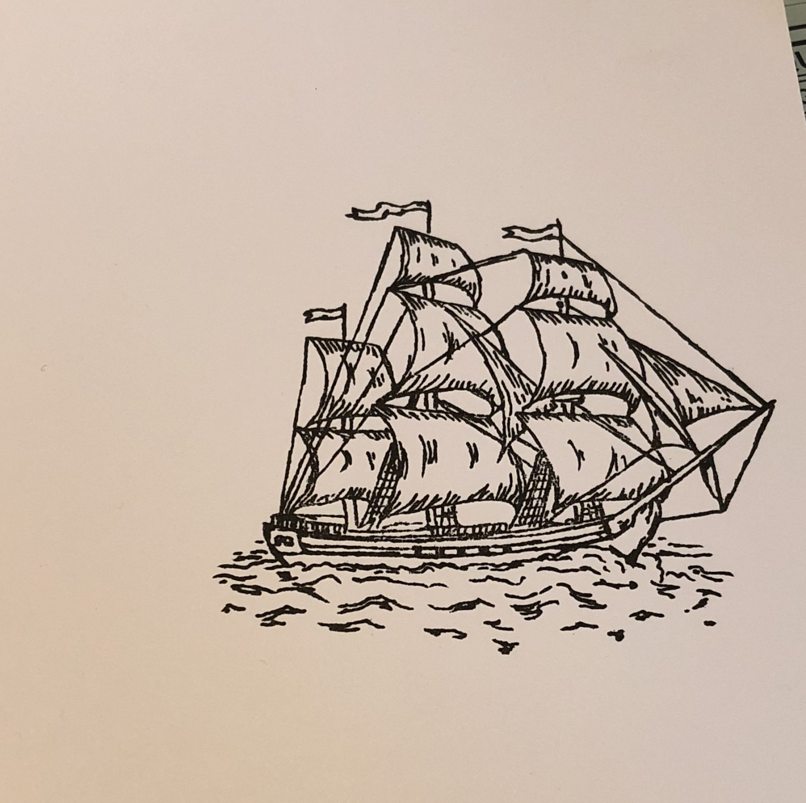 Living Creatively with Fibro | The Hunkydory Set Sail Ship stamped in black ink