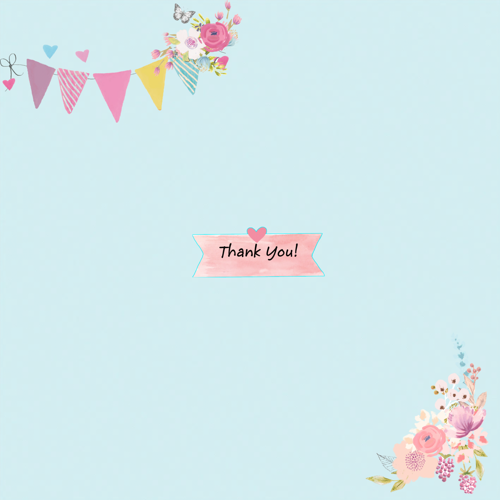 Living Creatively with Fibro | An image of the insert saying thank you on a label there is bunting at the top and flowers at the bottom that match the front of the card