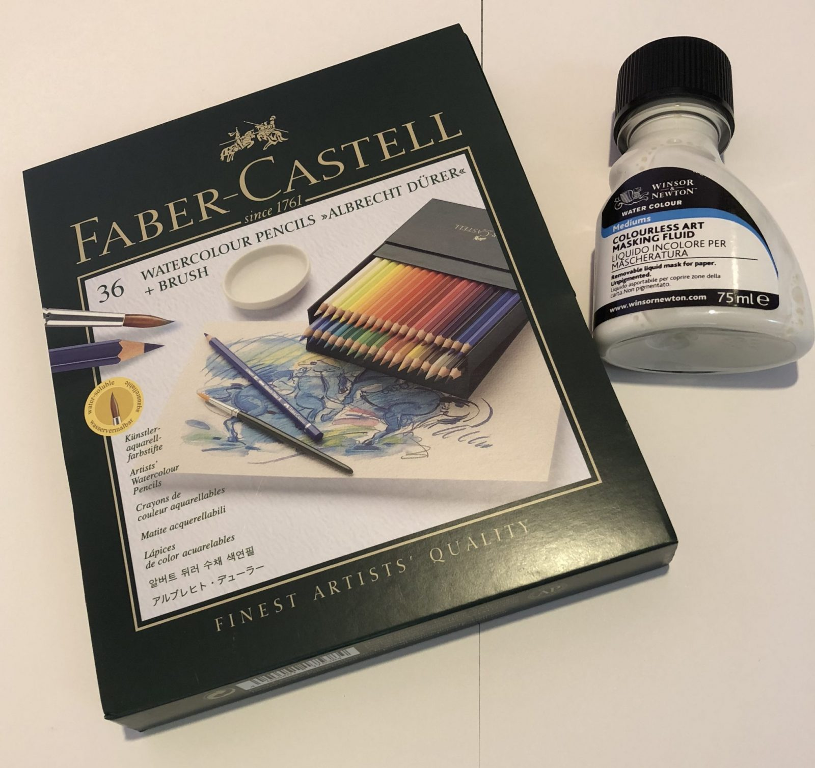 Living Creatively with Fibro | The pack of Faber-Castell Watercolour Pencils and the bottle of Winsor & Newton Masking Fluid