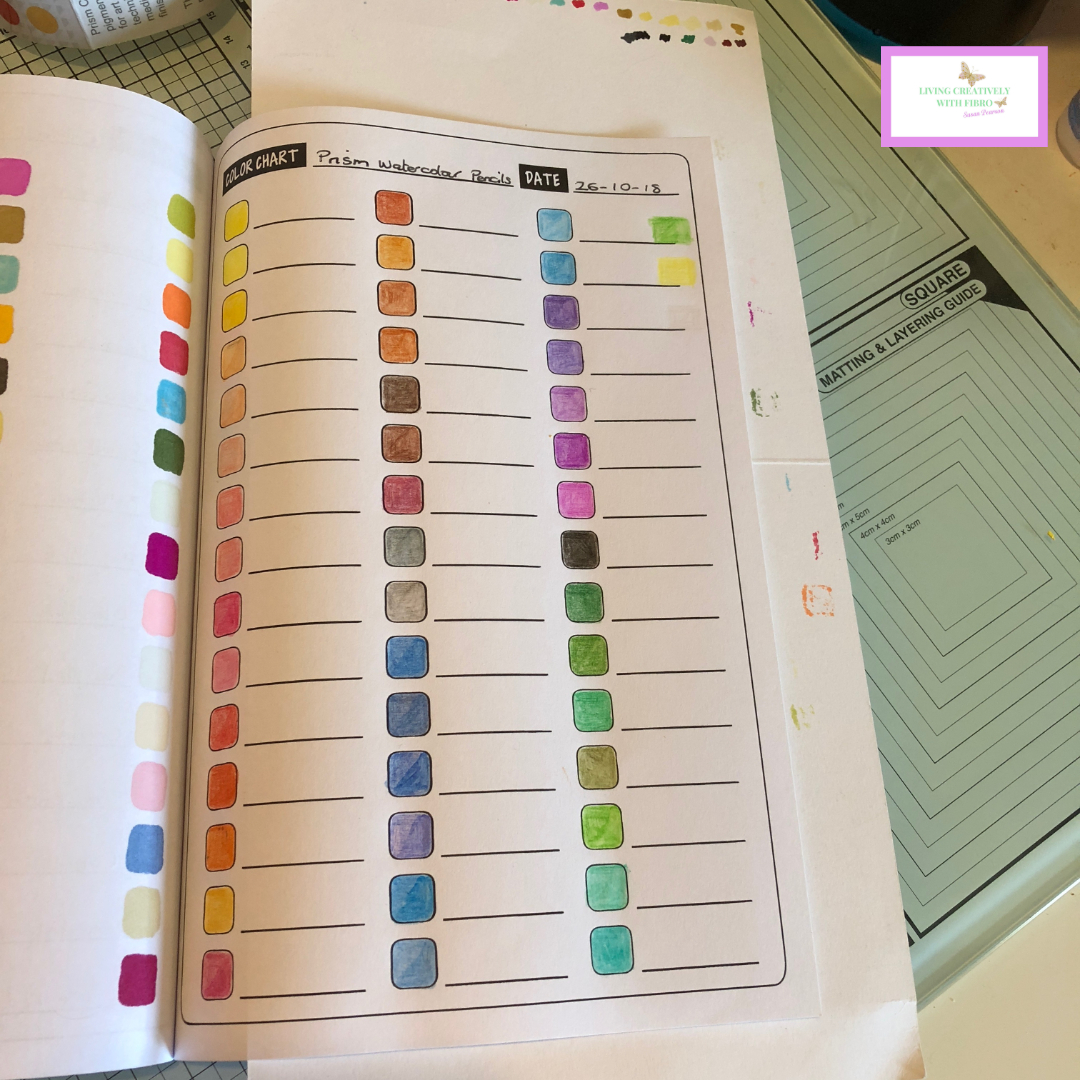 Living Creatively with Fibro | The open book of swatches showing all the colours of the rainbow