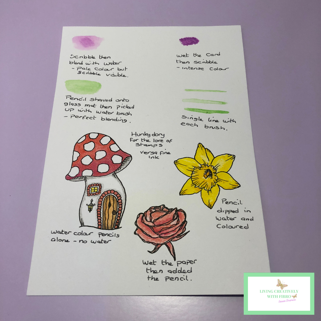 Living Creatively with Fibro | Testing the pencils with and without water, stamped and coloured three images a fairy toadstool house, a daffodil flower and a rose.