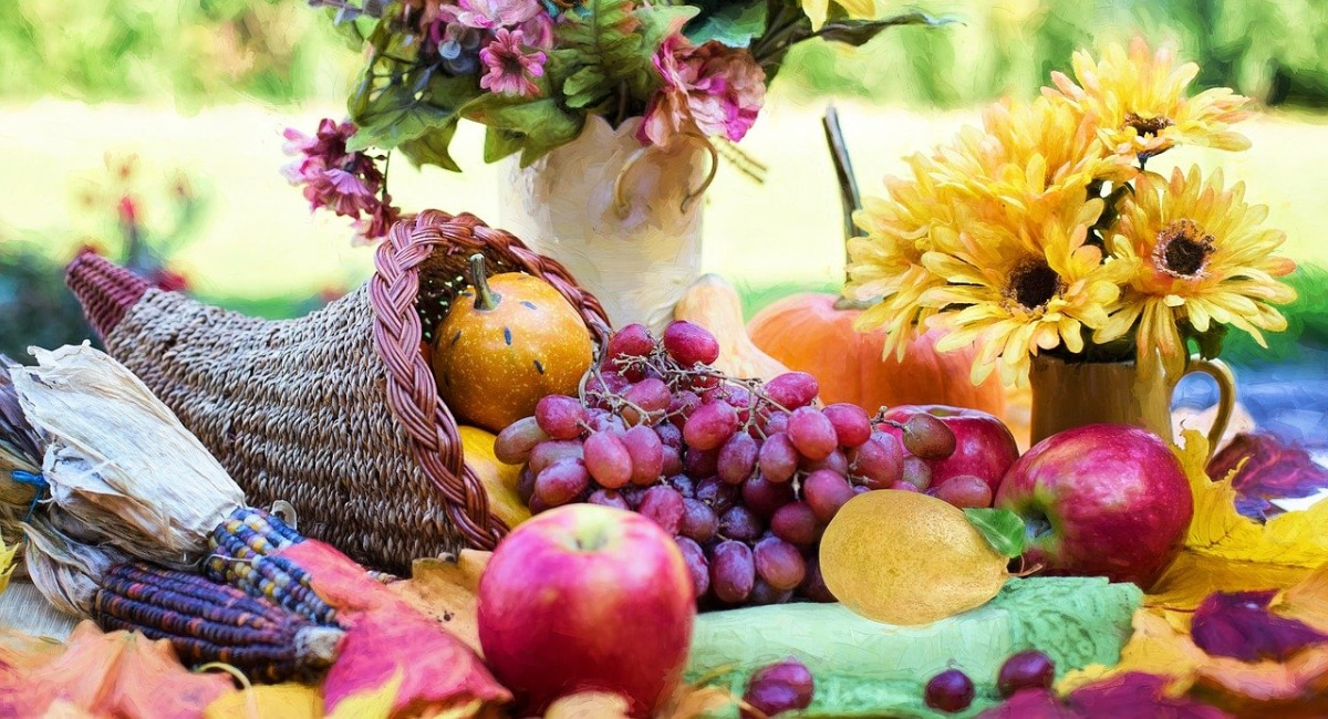 An image of a cornucopia and autumnal fruits and flowers