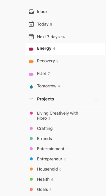 Living Creatively with Fibro | An image of a screen from Todoist showing options named Energy, Recovery, Flare for pacing yourself