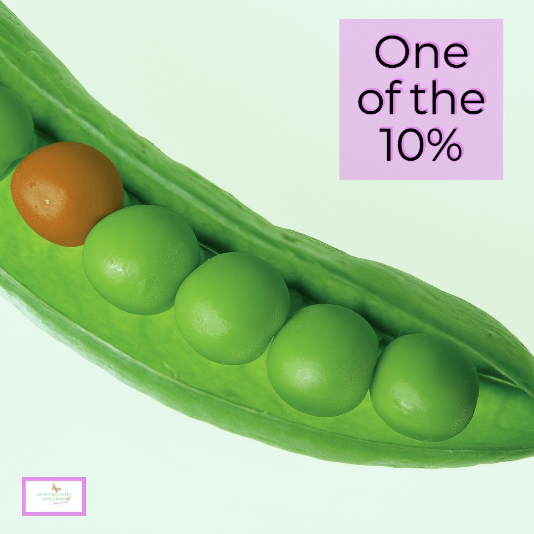 Living Creatively with Fibro | An image of a peapod all the peas are green except one which is red with the caption one of the 10%
