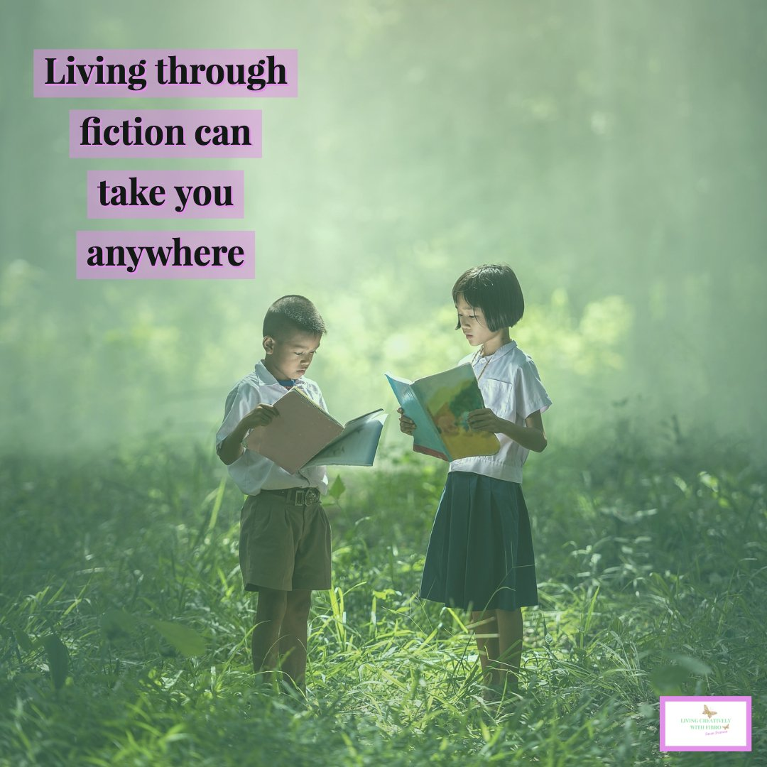 Living Creatively with Fibro | An image of two children holding books in a forest with the words Living through fiction can take you anywhere