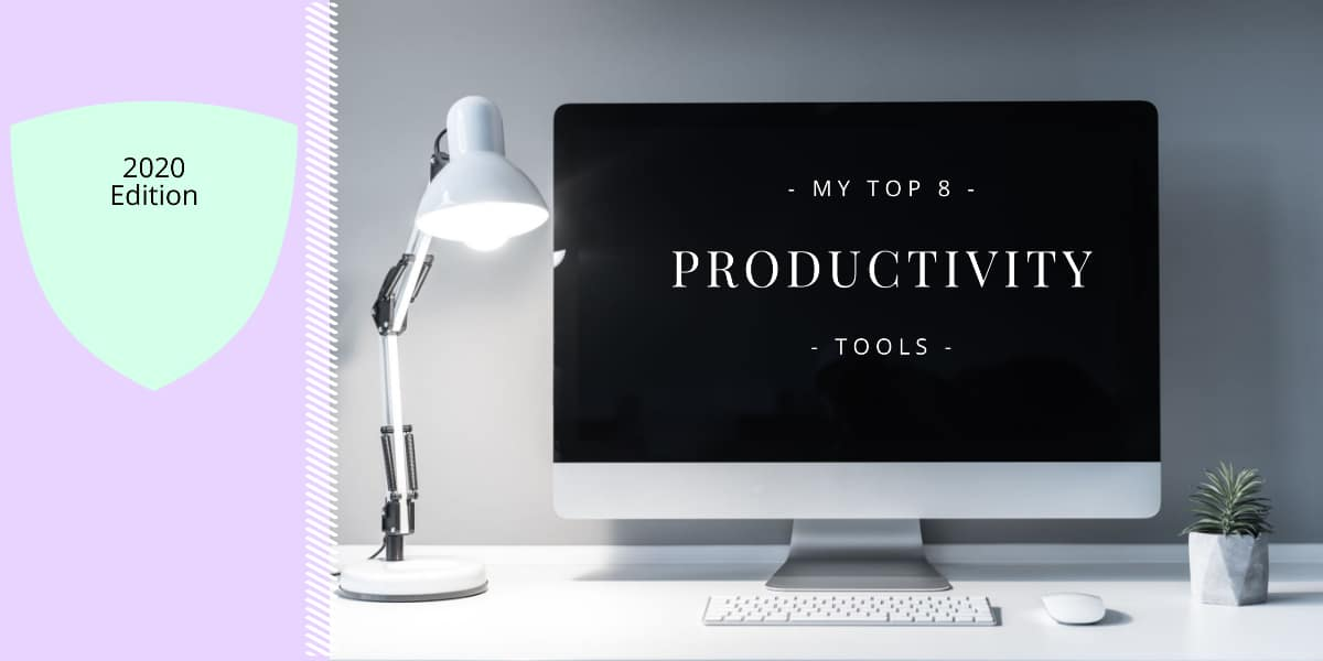 An image of a Mac with the title my top 8 productivity tools