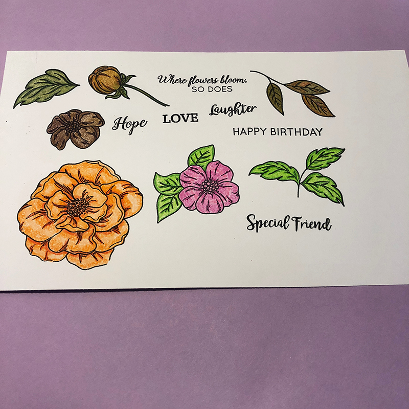 Living Creatively with Fibro | Beautiful Blooms stamped and coloured