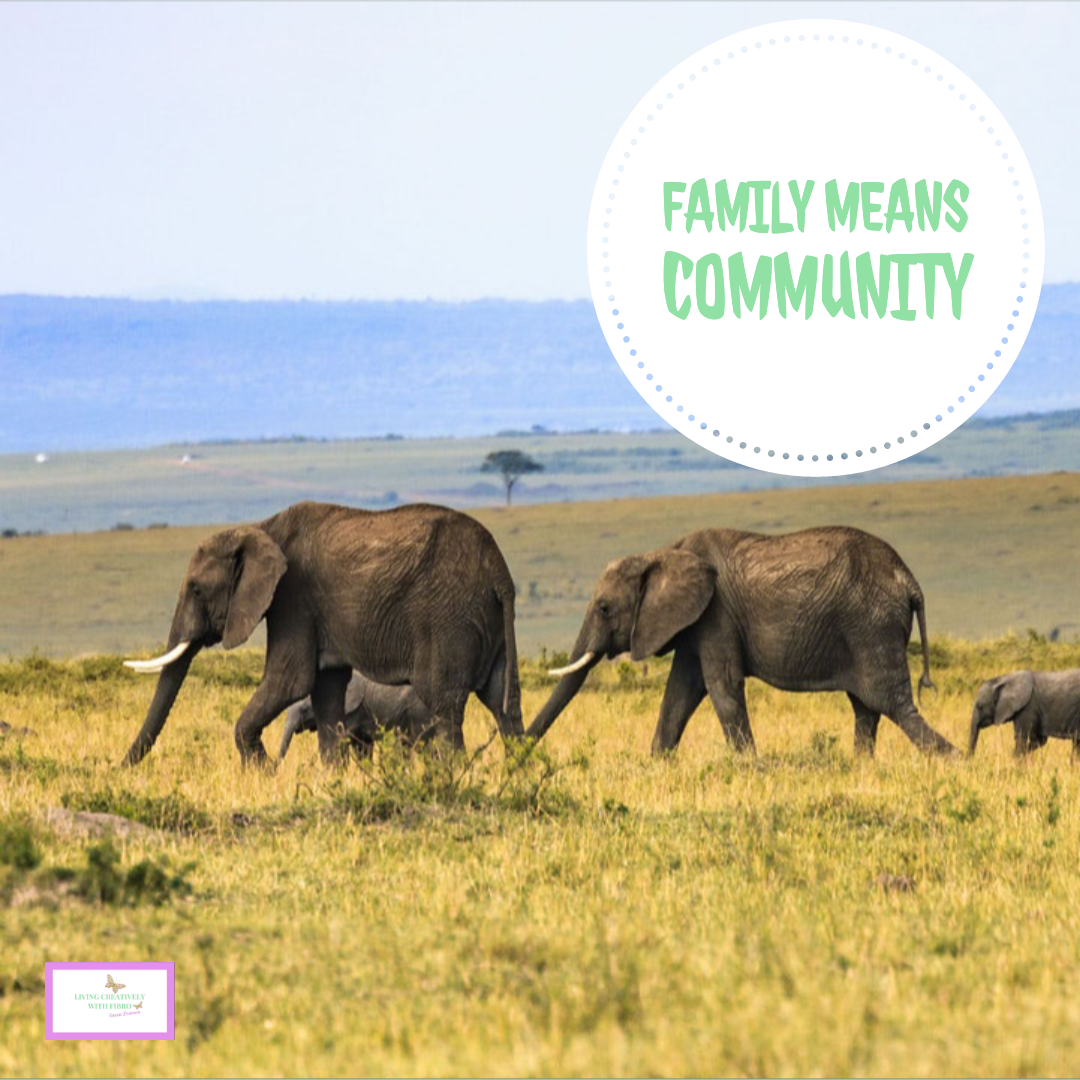 An image of a herd of elephants with the words family means community.