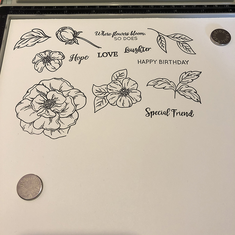 Living Creatively with Fibro | An photo of all the stamped images with crisp lines