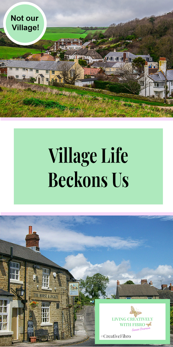"""An image of two villages with the words """"Village Life Beckons Us"""" and the words """"Not our village"""" and the blog logo."""