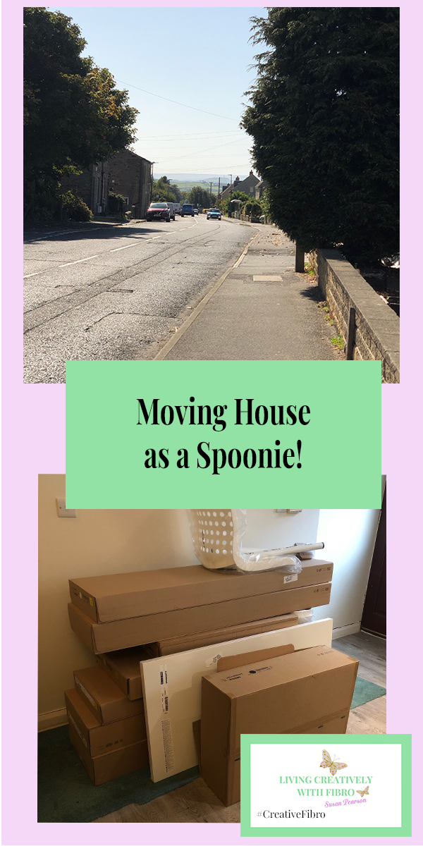 Moving House as a Spoonie featuring an image of our front street and the pile of Ikea packaging waiting to be built.