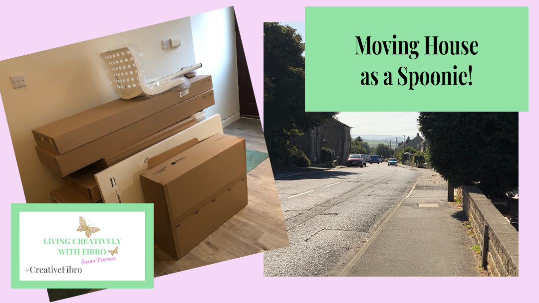 Moving house as a spoonie featuring the view of our front street and a pile of Ikea boxes waiting to be built.