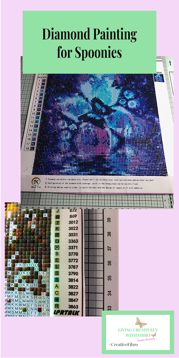 Diamond Painting for Spoonies Pinterest sized image.
