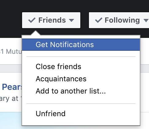 The friends option drop-down list