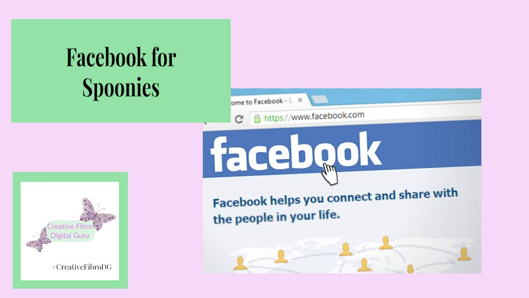 Facebook for Spoonies title image with the Facebook home screen