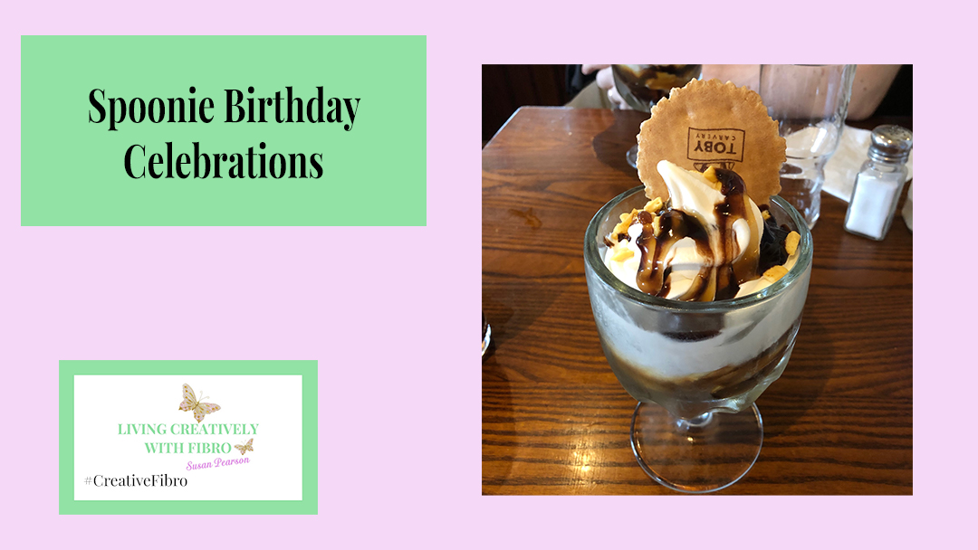 An image of the ice cream service I had for my birthday with the title Spoonie Birthday Celebrations
