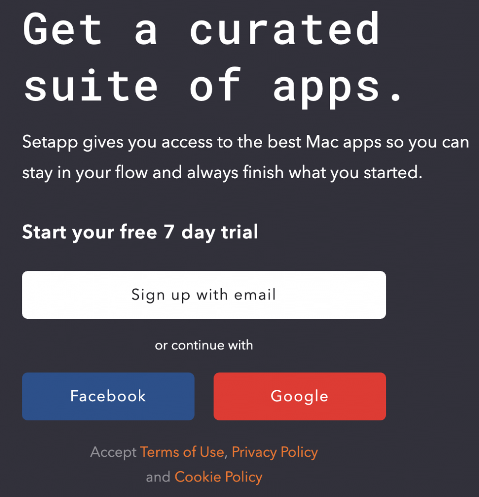 An image of the front page of SetApp
