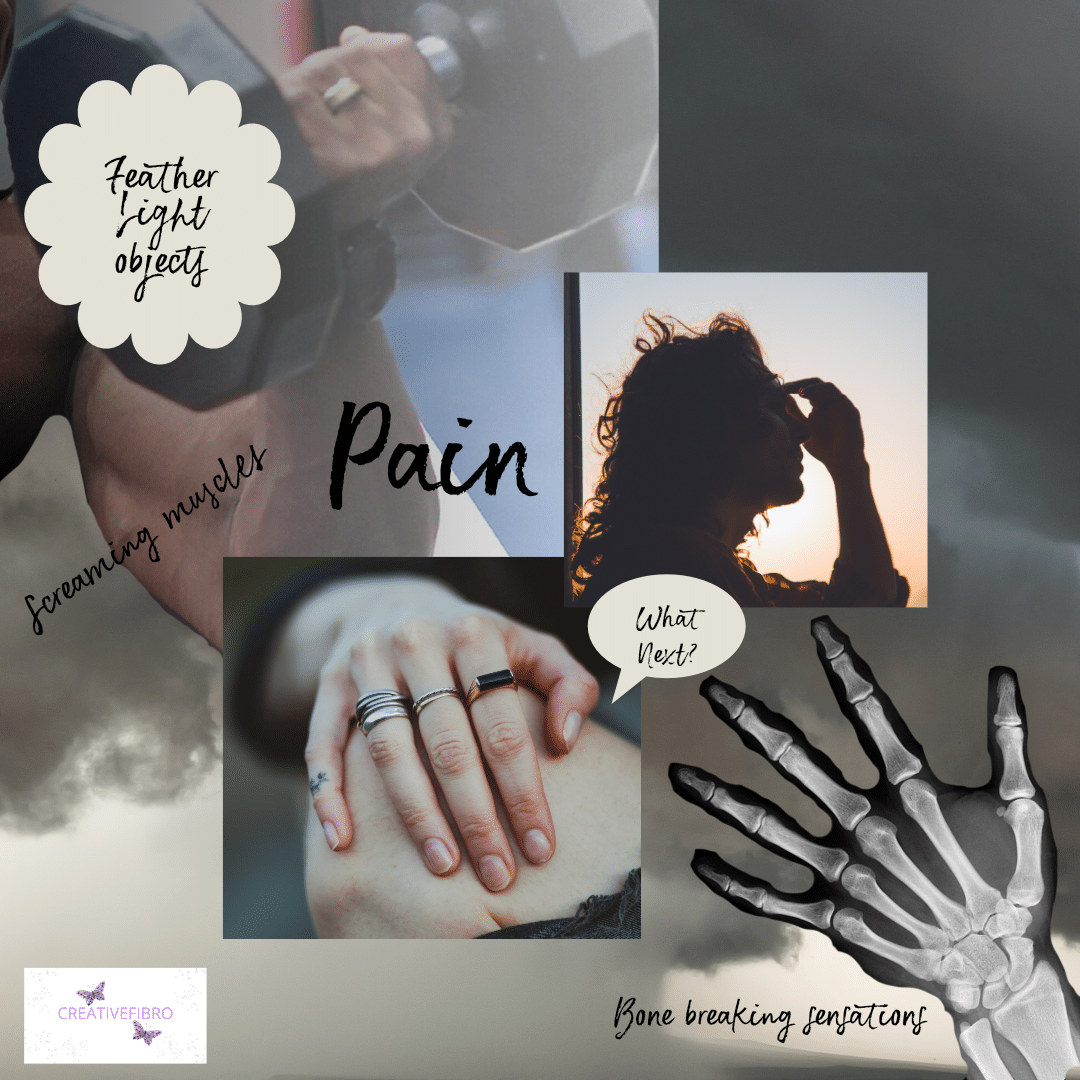 What does Fibromyalgia feels like? An image of a big storm cloud with someone holding their head, another their knee, a large weightlifters muscle and the words feather light object, a skeleton hand and the words bone breaking sensations